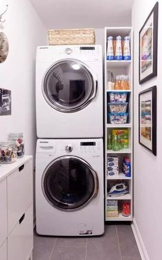 Laundry Room For These DIY room are perfect for the laundry room ideas, laundry room, laundry room organization, laundry room decor laundry room ideas small, laundry rooms & mudrooms so you need to try them out! Small Laundry Space, Tiny Laundry Rooms, Small Space Storage, Laundry Room Organization, Laundry Room Design, Small Spaces, Small Shelves, Storage Shelves, Basket Shelves