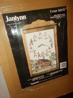 Vintage Janlynn School House Clock Kit Cross Stitch Kit Wooden Working Clock #SUDBERRYHOUSE