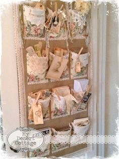 Craft Room Door Pocket Organizer - shabby chic way to organize craft and sewing supplies - via mydesertcottage Shabby Chic Crafts, Vintage Crafts, Vintage Shabby Chic, Shabby Chic Style, Shaby Chic, Pocket Organizer, Door Organizer, Hanging Organizer, Muebles Shabby Chic