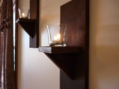 Rustic Wall Sconce Candle Holders set of 2 by SteeleCustomWoodwork, $15.00