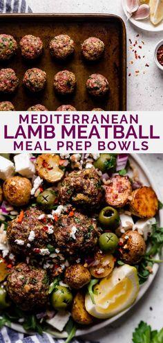 mediterranean lamb meatballs meal prep bowls - Plays Well With Butter Vegetarian Recipes Dinner, Lunch Recipes, Easy Dinner Recipes, Easy Meals, Healthy Recipes, Delicious Recipes, Holiday Recipes, Greek Roasted Potatoes, Lamb Meatballs