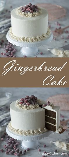 A rich and flavorful gingerbread cake paired with zesty lemon buttercream, a spiced Italian buttercream and sparkling cranberries.  via @preppykitchen