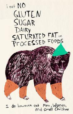 Whimsical illustration w gluten free humor! Humor Mexicano, Arte Popular, You Draw, Kitchen Art, Kitchen Decor, Sans Gluten, Gluten Free, Zine, Funny Animals