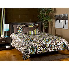@Overstock.com - This six-piece Orleans comforter set includes all you need to dress up your bed. Bold floral-inspired shapes of green, blue, and white pop against the rich, 100-percent cotton brown background of this fun, stylish comforter set. http://www.overstock.com/Bedding-Bath/Orleans-Brown-6-piece-King-Comforter-Set/6470638/product.html?CID=214117 $199.99