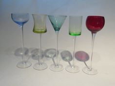 Set of five colored long stem cordial glasses by GiftedEnrichment on Etsy