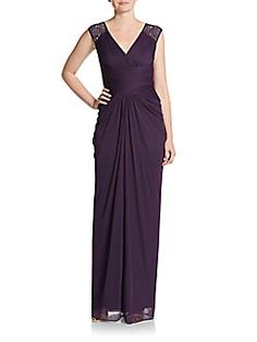 Adrianna Papell - Shirred Column Gown