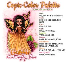 New Digital Stamps: Gabbie Butterfly Fae & Bella Peace, Love & Happiness Copic Color Chart, Copic Colors, Shading Techniques, Colouring Techniques, Colour Combo, Colour Combinations, Copic Markers Tutorial, Spectrum Noir Markers, Copic Art