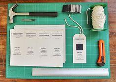 Crafting the hang tag labels.