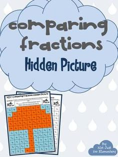 """Comparing Fractions: Hidden Umbrella Picture- Perfect """"rainy day"""" activity!"""