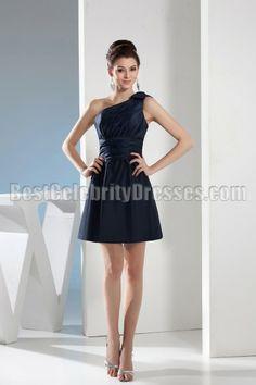 Short Navy blue One Shoulder Graduation Homecoming Dress BCDW4624