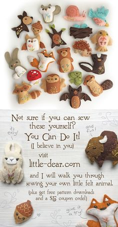 """You will love """"making"""" lots of new friends with these super cute and fun pattern. You will love """"making"""" lots of new friends with these super cute and fun patterns from little dear! Felt animals are eas. Felt Crafts Diy, Felt Diy, Fabric Crafts, Crafts For Kids, Clay Crafts, Felt Animal Patterns, Stuffed Animal Patterns, Felt Patterns Free, Felt Crafts Patterns"""