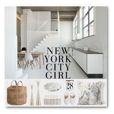 """New York City Girl"" by magicalslipper ❤ liked on Polyvore featuring interior, interiors, interior design, home, home decor, interior decorating, H&M, Bohemia, L'Objet and Pigeon & Poodle"