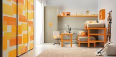 Kids Room, Charming Ideas Decorating Wall Colors Tips Storage Girl Decorations Shared Kids Room In Orange And White: Attractive Shared Youngsters Room Design Concepts Loft Bedroom Kids, Small Bedroom Designs, Loft Bedrooms, Bedroom Small, Space Saving Beds, Design Furniture, Spa Furniture, Paint Furniture, Bedroom Furniture