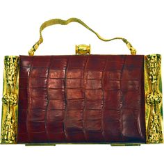 Title: 1930'S Art deco red crocodile golden metal vanity case, Price: $280 USD , Category: Vintage Collectibles:Vanity Items:Compacts, Shop: De Montalto Cabinet, Description: Old vintage big, 1930's genuine shocking red crocodile vanity case. It has a very important golden bronze (the gold is perfect) clasp, with open worked vegetal motifs, clasp and hinge working