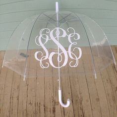 Clear bubble umbrella with vine monogram by AnnaKateBoutique, $20.00