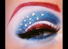 Captain America eye makeup.