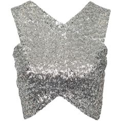SheIn(sheinside) Silver Black Sleeveless Sequined Crop Tank Top (€12) ❤ liked on Polyvore
