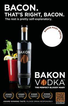 De la vodka au bacon pour des cocktails carnivores// Bakon Vodka bacon flavoured, perfect for Bloody Ceasar!