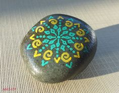 Smaller Hand Painted Alchemy Stone with Yellow & Green Sacred Geometry Starburst Mandala and Spirals Design