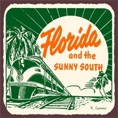 Florida Sunny South Vintage Metal Art Florida Retro Tin Sign Florida Sunny South…