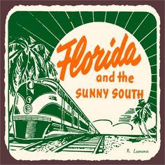 Florida Sunny South Vintage Metal Art Florida Retro Tin Sign Florida Sunny South…
