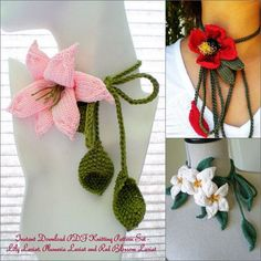 Plumeria Lariat, Lily Lariat, Red Blossom Lariat Flower Knitting Pattern | Flower Knitting Patterns, many free patterns at http://intheloopknitting.com/free-flower-knitting-patterns/