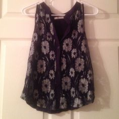Navy lace tank top Great condition. Button up. Navy and lacy. Brand: rumors. Size small. Rumors Tops Tank Tops