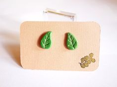 Green Leaf Nature Polymer Clay Stud Earrings by PricklyRoseDesigns
