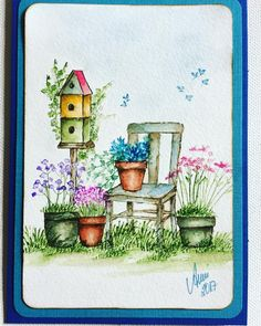 Art Impressions Wonderful Water Color handmade watercolor card with birdhouse, chair, pots, containers, grass, flowers, foliage