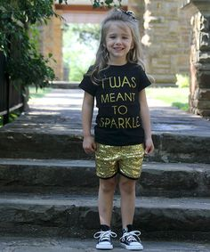 Look what I found on #zulily! Black 'Meant to Sparkle' Tee & Shorts - Infant & Toddler #zulilyfinds