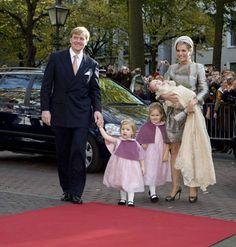royalbabies: Baptism of Princess Ariane of the Netherlands-Willem-Alexander, Alexia, Catharina-Amalia and Maxima holding baby Ariane, 2007