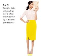 """Pair softer shades with extra-bright ones for a fresh take on colorblocking. It strikes the perfect balance""."