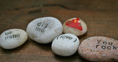 Love rocks! Just in time for Valentine's day.  These conversation Love Rocks! have a heart on the front and a witty (or just plain sweet) me...