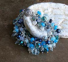 So pretty!!  Etsy listing at http://www.etsy.com/listing/117057767/on-summer-seas-blue-gemstone-and