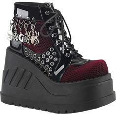 451d3ea1b307 Inked Boutique - Stomp-18 Platform Wedge Bootie Black Burgunday Goth Occult  Charms www