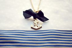 anchor necklace, wheel necklace, fashion jewelry navy blue nautical ribbon sea side summer games inspired, french stripes, white and blue. $30.94