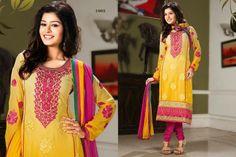 Sunshine Yellow chiffon punjabi suit with border work.pair with mathcing bottom and dupatta. Punjabi Suits, Salwar Kameez, Sunshine, Chiffon, Sari, Yellow, Casual, Fashion, Silk Fabric
