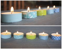Plain tea lights turn into captivating candles with just a strip of tape. Get the tutorial at What Happened Next »  - GoodHousekeeping.com