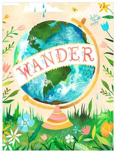 Celebrate the mystic of the natural world with the Art Wander Globe Wall Decal by GreenBox Art. Featuring the art of Katie Daisy, this fabric-based decal will enhance your walls with rich, brilliant color. Art Français, Art Mural, Wall Art, Wanderlust, Art Globe, Impression Grand Format, Daisy Art, Acrylic Artwork, Thing 1
