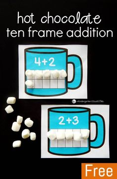 Practice addition to ten with these fun hot chocolate ten frame addition mats! What a fun winter math center for pre-k or Kindergarten!