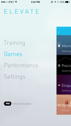 Elevate iPhone custom navigation screenshot