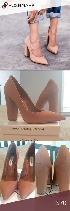 Steve Madden Primpy Camel Nubuck Block Chunky Heel Steve Madden Primpy Camel Nubuck Block Chunky Heels - worn once. 5 inch heel. No stains or marks. Clean suede in excellent condition!!!! They have been sprayed with suede weather and stain protector. Comes with box. Steve Madden Shoes Heels