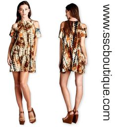 Tie Dye Jersey Dress $32.50! S,M,L! Loose fit, short sleeves with cold shoulder, round neck dress. This dress is made with lightweight tie-dyed jersey that is soft and drapes very well. This fabric has great stretch. Click link to order now!  http://www.sscboutique.com/collections/new-arrivals/products/tie-dye-jersey-dress  #tiedye #instafashion #shoponline #dresses