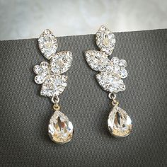 LYSETTE, Swarovski Crystal Bridal Earrings, Wedding Chandelier Earrings, Vintage Inspired Flower and Leaf Wedding Dangle Earrings, Jewelry on Etsy, $69.00