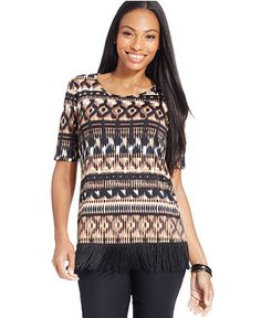 NY Collection Petite Fringe-Trim Multi-Print Top, Only at Macy's - Tops - Women - Macy's