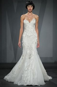 Sweetheart Mermaid Wedding Dress  with Natural Waist in Embroidery. Bridal Gown Style Number:33414301