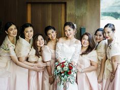 Check Out This Fun Filipiniana Wedding with All Its Traditional Beauty! Bridesmaids, Bridesmaid Dresses, Wedding Dresses, Tagaytay Wedding, Filipiniana Wedding, Bride And Breakfast, Filipino Culture, Groom And Groomsmen Attire, Entourage