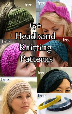 Knitting patterns for head bands, ear warmers, head wraps, and head scarves to keep you warm, fashionable, with minimal mussing of your hair style.