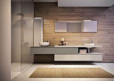 Doppelter Waschtischunterschrank / hängend / freistehend / Holzfurnier - CUBIK - IDEAGROUP