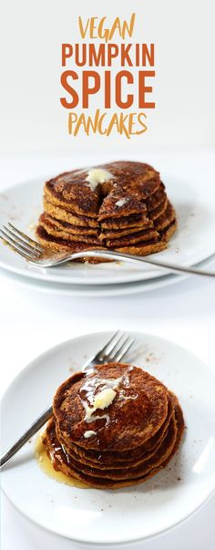 Tender, spiced vegan pumpkin pancakes that require just 1 bowl and 20 minutes. So simple, healthy and perfect for chilly fall mornings.